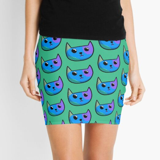 Blue Cat Face Mini Skirt