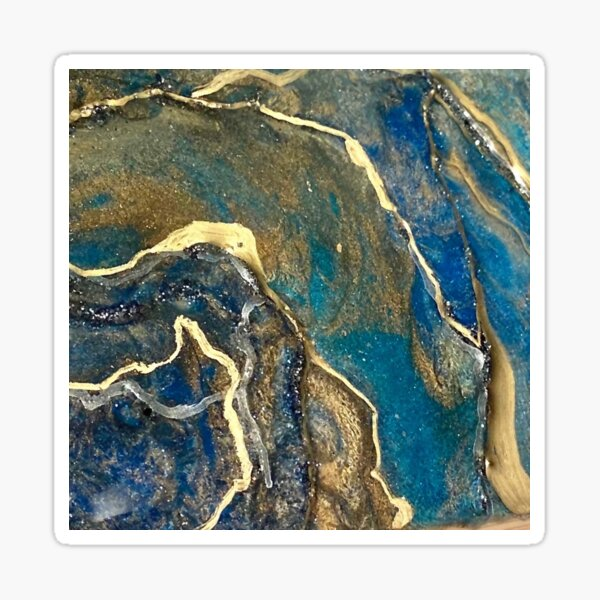 Blue and Dusty Gold Agate Sticker