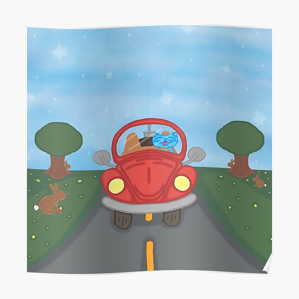 Milo Blue Cat Easter/Spring Red Bug Car Cartoon Poster