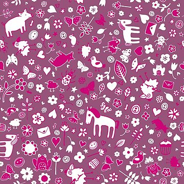 Pigs and Ponies Ditsy - Pink and white - pretty pattern by Cecca Designs by Cecca-Designs