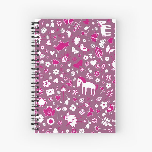 Pigs and Ponies Ditsy - Pink and white - pretty pattern by Cecca Designs Spiral Notebook
