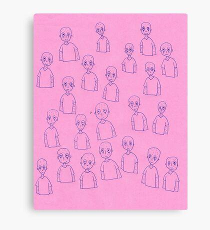 Unsettling Potato Men in Gel Pen Canvas Print