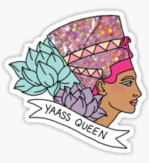 Nefertiti Cleopatra Egyptian lotus beyonce glitter yas yaass queen broad city girly print Sticker