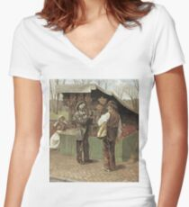 Vintage famous art - George Bacon Wood - The Fifteenth Amendment  Civil Rights Women's Fitted V-Neck T-Shirt