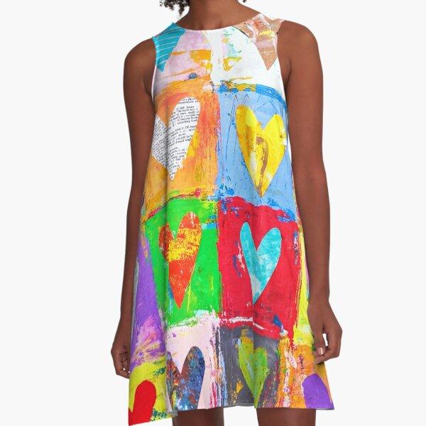 Colorful Heart Grid A-Line Dress