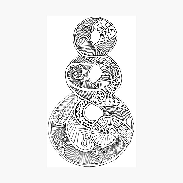 Triple Twist (Maori Symbol) Fineliner Photographic Print