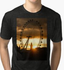 Framing the Sunset in London - the London Eye and Big Ben  Tri-blend T-Shirt