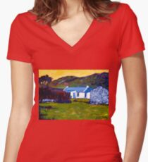 Cottage from Sheep Field Women's Fitted V-Neck T-Shirt
