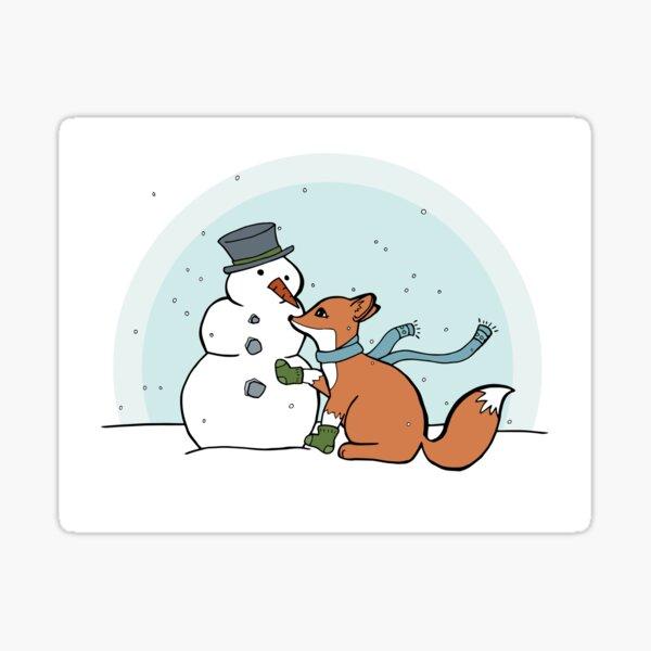 Fox and Snowman in a Winter Scene Sticker
