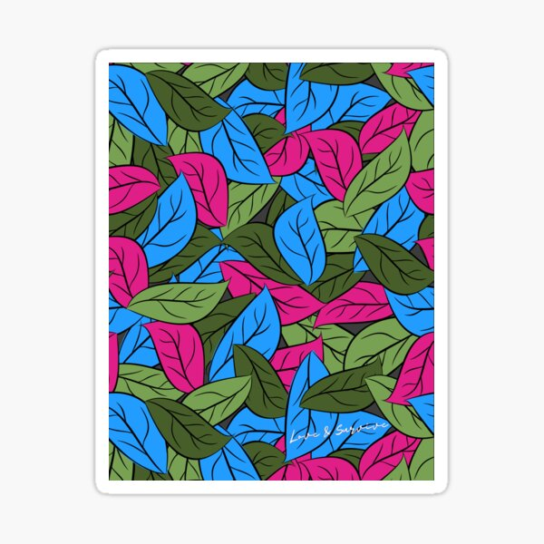 Pink, Blue & Green Leaf Camouflage  Sticker
