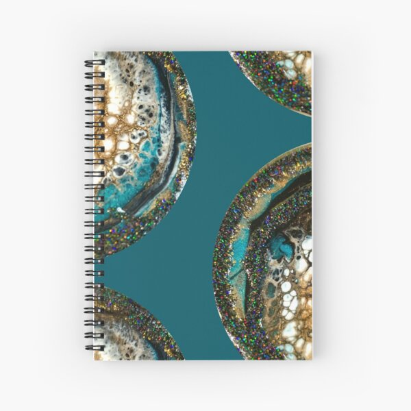 Sparkly Aqua and White Cells Resin Macro Spiral Notebook