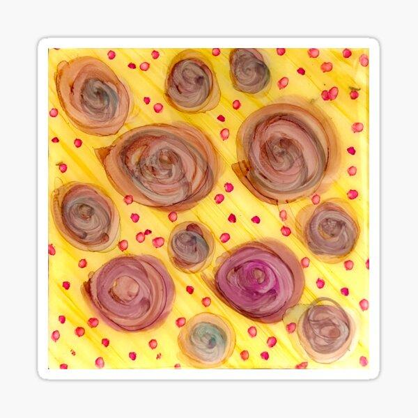 Fun Circles on Yellow Alcohol Ink Macro Shot Sticker