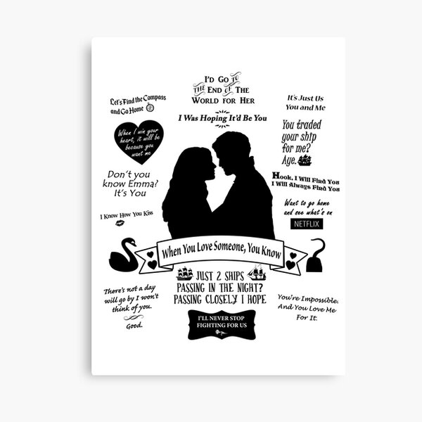 "Captain Swan ""Iconic Quotes"" Silhouette Design  Canvas Print"