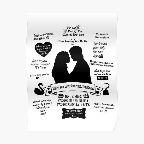 """Captain Swan """"Iconic Quotes"""" Silhouette Design  Poster"""