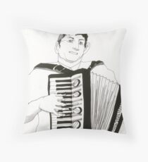 Accordion Player Throw Pillow
