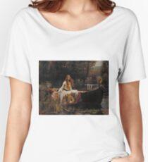 John William Waterhouse - The Lady of Shalott 1888 . Woman Portrait  Women's Relaxed Fit T-Shirt
