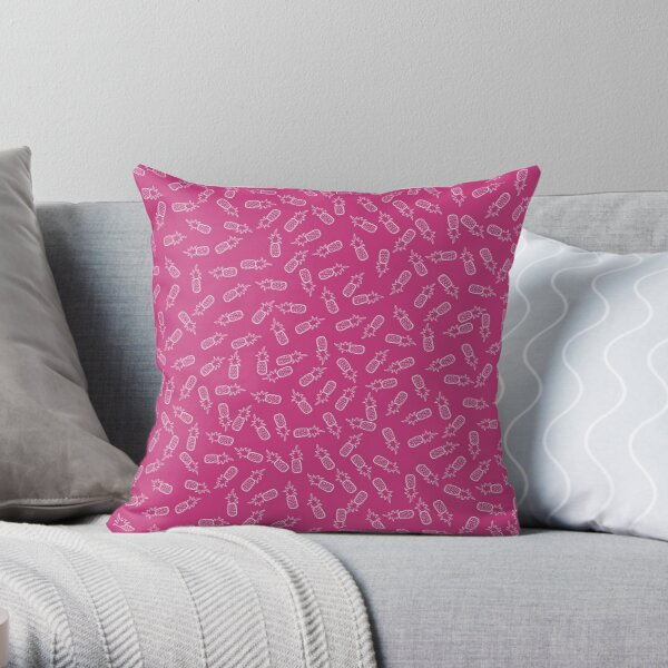 Pineapples in Pink Throw Pillow