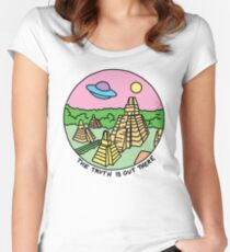 Mayan alien x-files scully mulder ufo pyramid egyptian pastel 90s tv Women's Fitted Scoop T-Shirt