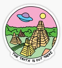 Mayan alien x-files scully mulder ufo pyramid egyptian pastel 90s tv Sticker