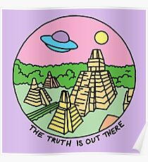Mayan alien x-files scully mulder ufo pyramid egyptian pastel 90s tv Poster