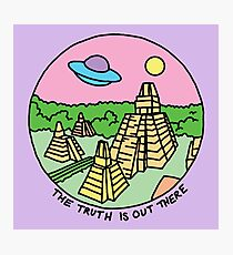 Mayan alien x-files scully mulder ufo pyramid egyptian pastel 90s tv Photographic Print