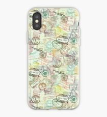 Passport Stamps Pattern iPhone Case