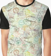 Passport Stamps Pattern Graphic T-Shirt