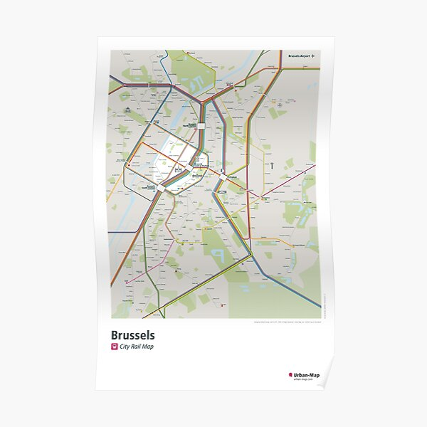 Brussels City Rail Map Poster Poster