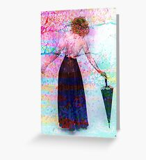 AND SHE WALKED INTO SPRING Greeting Card