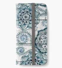 Shabby Chic Navy Blue doodles on Wood iPhone Wallet/Case/Skin