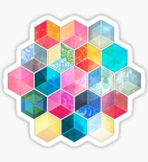 Crystal Bohemian Honeycomb Cubes - colorful hexagon pattern Sticker