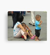 A Mother With Her Two Boys Canvas Print