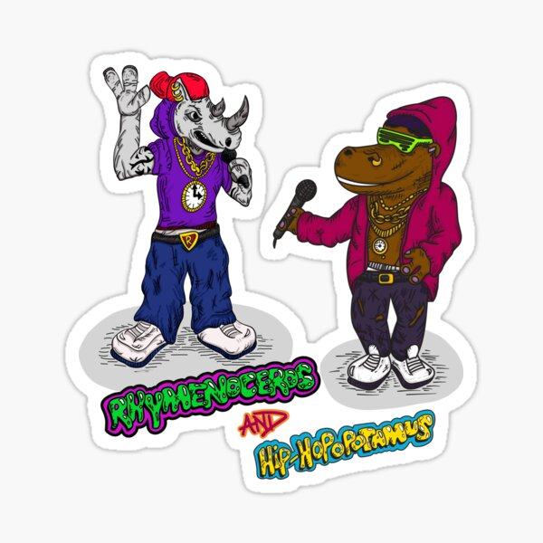 FLIGHT OF THE CONCHORDS - THE HIPHOPOPOTAMUS AND THE RHYMENOCEROS - TOGETHER ON THE ONE SHIRT Sticker