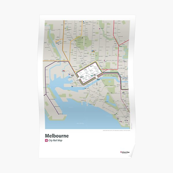 Melbourne City Rail Map Poster Poster