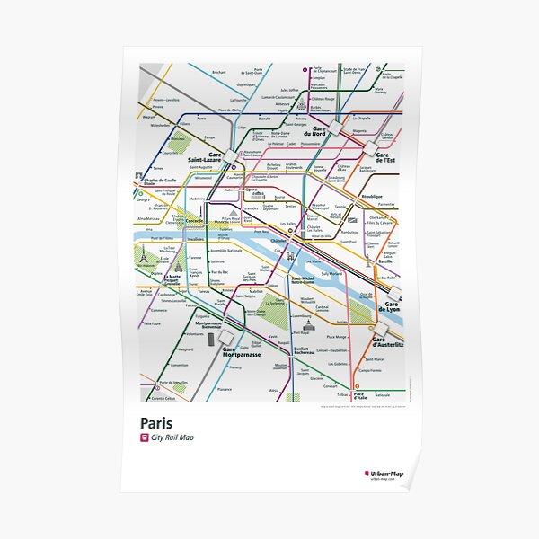 Paris City Rail Map Poster Poster