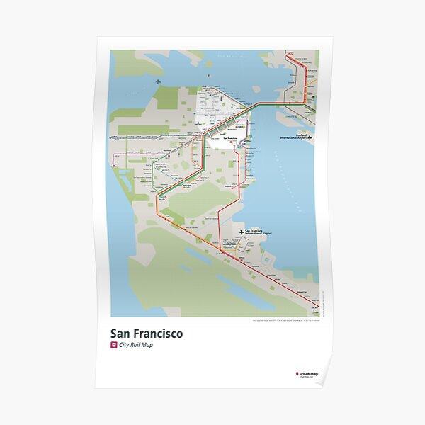 San Francisco City Rail Map Poster Poster