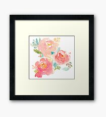 Peonies Watercolor Bouquet Framed Print
