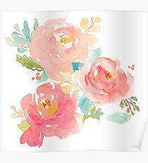 Peonies Watercolor Bouquet Poster