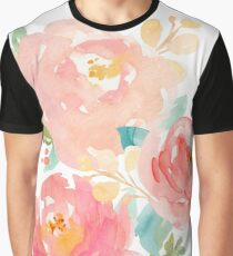 Peonies Watercolor Bouquet Graphic T-Shirt