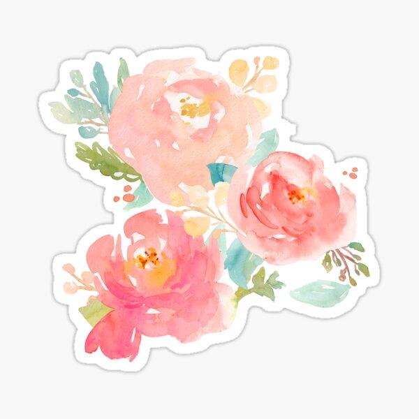 Peonies Watercolor Bouquet Sticker