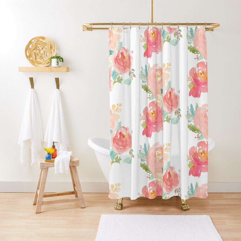 Peonies Watercolor Bouquet Shower Curtain