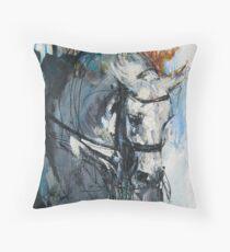 Dressage No.6 - Grey Stallion in Focus Throw Pillow