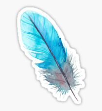 Turquoise Feather Watercolor Boho Sticker