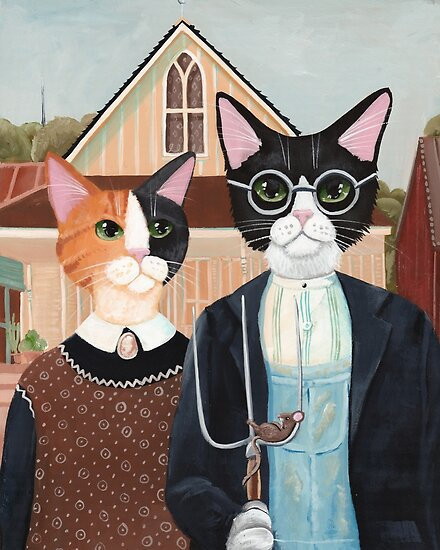 Ameowican Gothic Calico and Tuxedo Cat by Ryan Conners