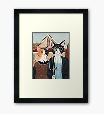Ameowican Gothic Calico and Tuxedo Cat Framed Print