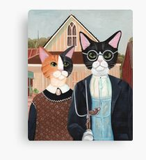Ameowican Gothic Calico and Tuxedo Cat Canvas Print