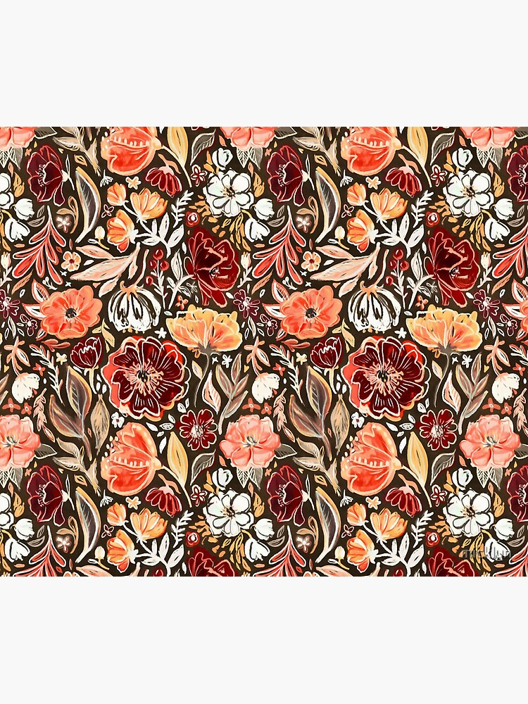 Smudgy Floral in Autumn Coral and Dark Brown by micklyn