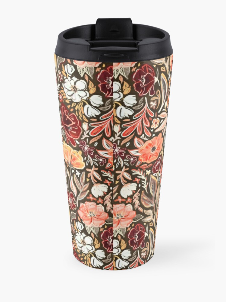Alternate view of Smudgy Floral in Autumn Coral and Dark Brown Travel Mug