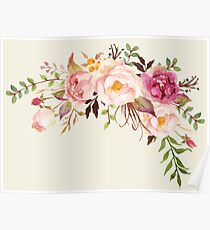 Romantic Watercolor Flower Bouquet Poster