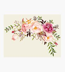 Romantic Watercolor Flower Bouquet Photographic Print